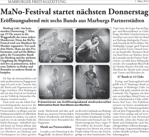 Marburger Freitagszeitung, 01.03.2013 (Autorin: Alexandra Hess)